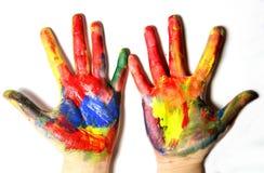 Яркие покрашенные руки Стоковые Изображения RF