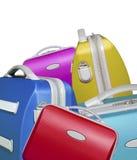 яркие покрашенные чемоданы Стоковая Фотография