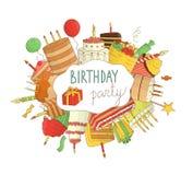 Яркие покрашенные элементы дня рождения иллюстрация штока
