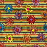 Яркие психоделические цветки & линии безшовная картина Стоковая Фотография RF