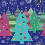 Яркие рождественские елки и снежинки вечером иллюстрация вектора