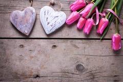 Яркие розовые тюльпаны весны и 2 декоративных сердца Стоковые Изображения RF