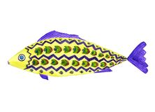 Яркие рыбы в желтых, фиолетовых, зеленых цветах иллюстрация вектора