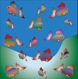 Яркие рыбы иллюстрация штока