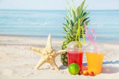 Яркие свежие здоровые соки, плодоовощ, ананас, арбуз, на песке на фоне моря Лето, остатки Стоковое Фото