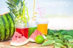 Яркие свежие здоровые соки, плодоовощ, ананас, арбуз на предпосылке моря Лето, остатки, здоровый образ жизни Стоковое Изображение