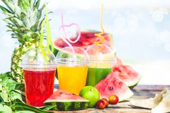 Яркие свежие здоровые соки, плодоовощ, ананас, арбуз на предпосылке моря Лето, остатки, здоровый образ жизни Стоковое фото RF