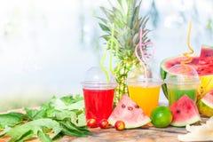 Яркие свежие здоровые соки, плодоовощ, ананас, арбуз на предпосылке моря Лето, остатки, здоровый образ жизни Стоковое Фото