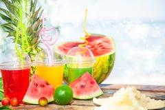 Яркие свежие здоровые соки, плодоовощ, ананас, арбуз на предпосылке моря Лето, остатки, здоровый образ жизни Стоковые Изображения