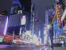 Яркие света в Таймс площадь, Нью-Йорке Стоковые Фотографии RF