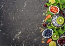 Яркие сочные зрелые ягоды и плодоовощи для рецептов лета здоровых, охлаждая пить, завтраков, закусок в коробках для завтрака: кив Стоковые Изображения RF