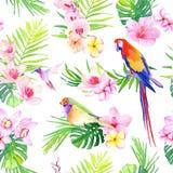 Яркие тропические листья с вектором цветков безшовным печатают Стоковое Изображение