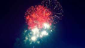 Яркие фейерверки в небе на ноче видеоматериал