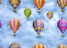 Цветастые воздушные шары в небе. Безшовная картина иллюстрация вектора