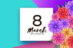 Яркие цветки Origami Счастливый день ` s женщин 8-ое марта r Отрезанная бумагой экзотическая тропическая флористическая поздравит