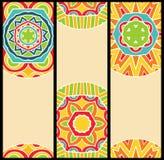 Яркие этнические картины на комплекте карточек бесплатная иллюстрация