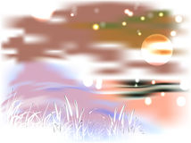 Яркий ландшафт с озером и тростниками в свете Стоковые Изображения RF