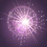 Яркий блеск искр накаляя, зарево взрыва взрыва звезды и пирофакел объектива изолированные на пурпурной прозрачной предпосылке Шоу иллюстрация штока
