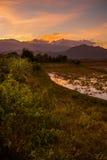 Яркий волшебный заход солнца Стоковые Фотографии RF