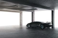 Яркий гараж с автомобилем бесплатная иллюстрация