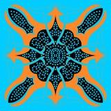 Яркий голубой восточный абстрактный орнамент Стоковое фото RF