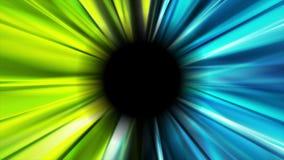 Яркий голубой и зеленый накалять испускает лучи видео- анимация иллюстрация штока