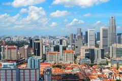 Яркий городской пейзаж Сингапура вид с воздуха Стоковые Изображения RF