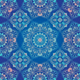 Яркий, голубой, безшовный восточный орнамент Стоковые Изображения