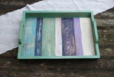 Яркий деревянный поднос Стоковое Фото