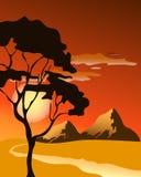 Яркий желтый комплект восхода солнца и захода солнца Стоковое Изображение