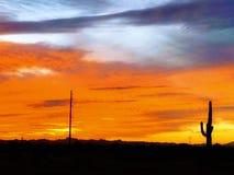 Красочный заход солнца в Аризоне стоковое изображение rf