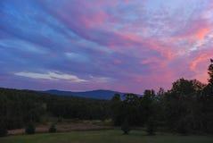 Яркий заход солнца вечера Стоковая Фотография RF