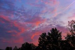 Яркий заход солнца вечера Стоковое Фото