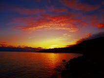 яркий заход солнца Стоковые Изображения RF