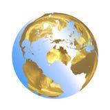 Яркий золотой глобус в 3D Стоковая Фотография RF