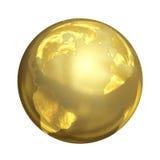 Яркий золотой глобус в 3D Стоковое Изображение RF