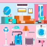 Яркий дизайн интерьера живущей комнаты с большими окнами Удобные софа, таблица, телевидение и изображение Плоская иллюстрация век Стоковое фото RF