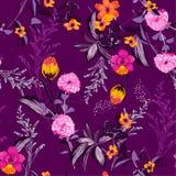 Яркий и свежий зацветая красочный цветочный узор сада леса Стоковая Фотография