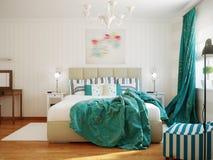 Яркий и уютный современный дизайн интерьера спальни с белыми стенами, Стоковые Фотографии RF
