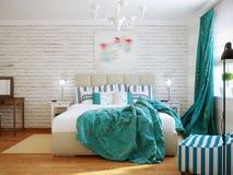 Яркий и уютный современный дизайн интерьера спальни с белыми стенами, стоковое изображение rf