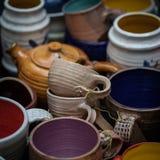 Яркий керамический tableware handmade Стоковое фото RF