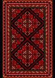 Яркий ковер в старом стиле с красным цветом и тенями burgundy иллюстрация штока