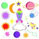 Яркий космос карточки, с изображением кометы Стоковые Изображения