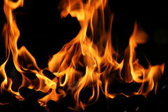 Яркий красный и оранжевый настоящий огонь Стоковые Фото