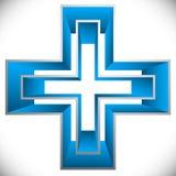 Яркий крест как здравоохранение, значок скорой помощи или логотип бесплатная иллюстрация