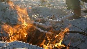 Яркий лагерный костер на побережье Чёрного моря глубоко на ноче в slo-mo сток-видео