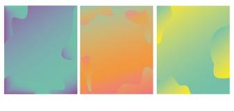 Яркий набор карт с градиентом цвета ультрамодным Абстрактная ультрамодная предпосылка, красочная текстура Творческий дизайн, мини иллюстрация штока