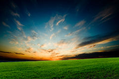 яркий накаляя заход солнца Стоковая Фотография RF
