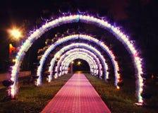 Яркий накаляя свод покрашенных фонариков в парке в вечере Стоковые Фотографии RF