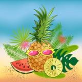 Яркий натюрморт лета плодов на пляже: ананас, куски сочного арбуза, куски ананаса, стекла иллюстрация штока